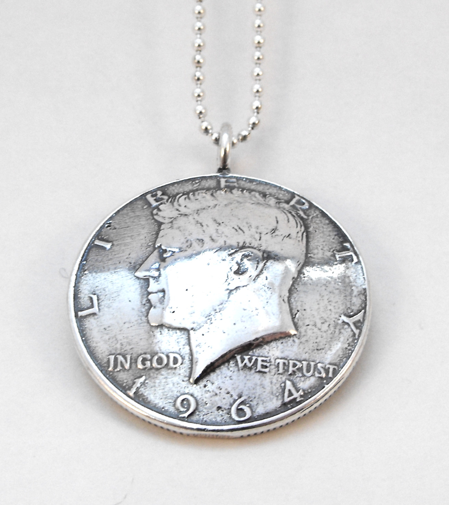 Vintage baby boomers 1964 kennedy coin pendant mozeypictures Choice Image